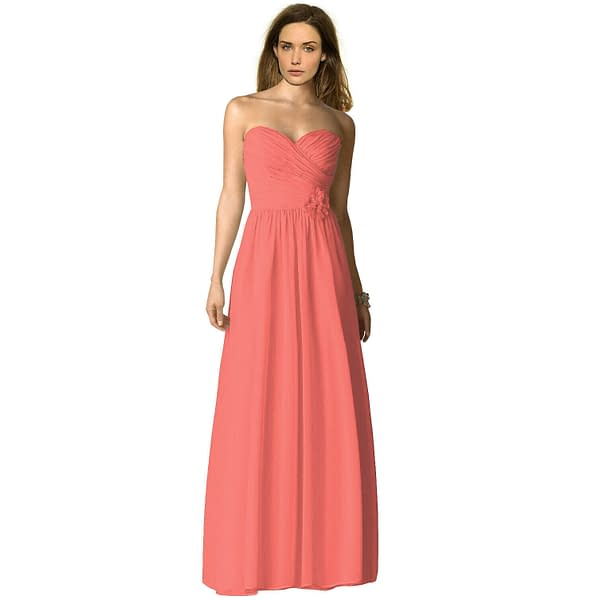 Strapless Full Length Chiffon Bridesmaids Dress Formal Evening Gown Coral Red 191230277435