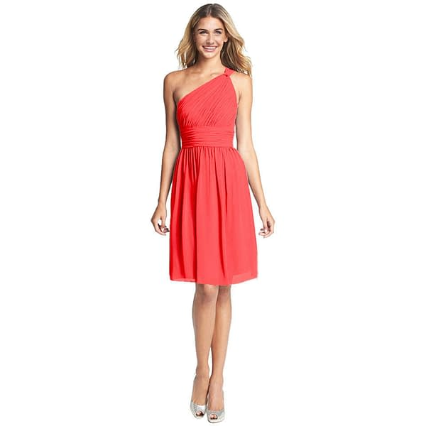 Graceful One Shoulder Chiffon Cocktail Evening Party Bridesmaid Dress Coral Red 172527720261