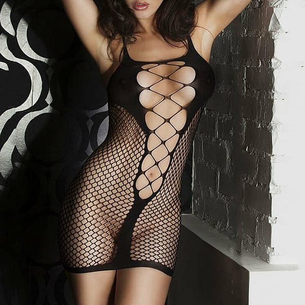 Black Sexy Mini Fishnet See through Hollow Out Slip Dress Lingerie 1344 Size S M 400763166055