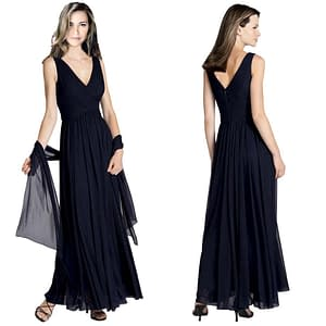 Pleated Formal Flowing Evening Gown with Shawl Navy