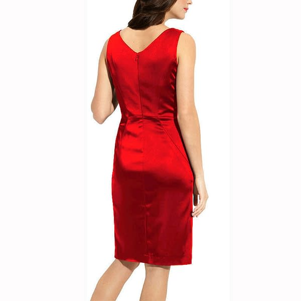 Gathered V Neck Stretch Satin Formal Cocktail Evening Party Day Dress Red 171376332707 2