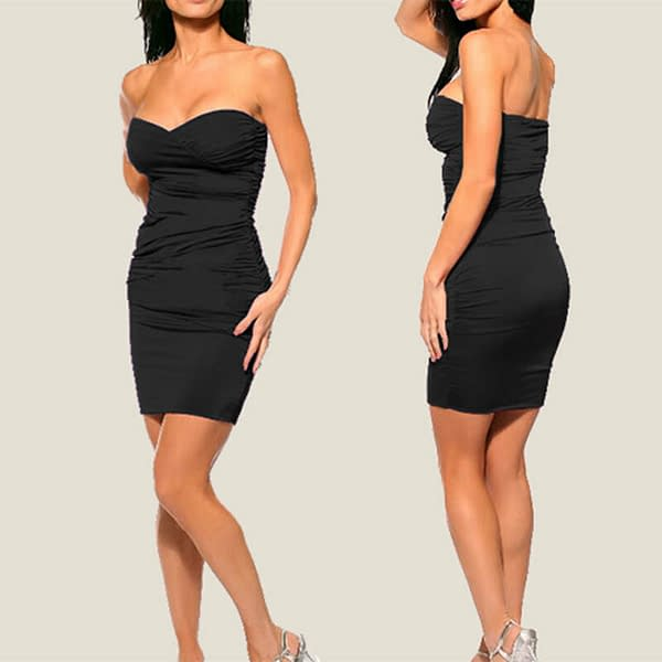 Ruched Strapless Evening Party Night Club Dress co9687 Black 171465244804