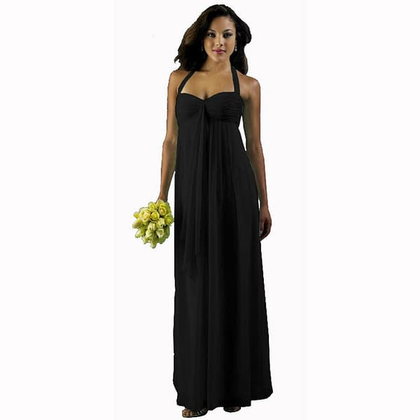 Long Flowing Ruffled Front Formal Bridesmaid Evening Dress Maxi Gown Black 400735459044
