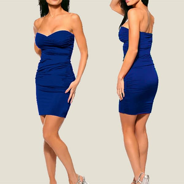 Ruched Strapless Evening Party Night Club Dress co9687 Cobalt Blue 191335611493