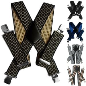 Mens 50mm Wide Suspenders Heavy Duty Elastic Leather Clip On Braces Trousers 193257262126
