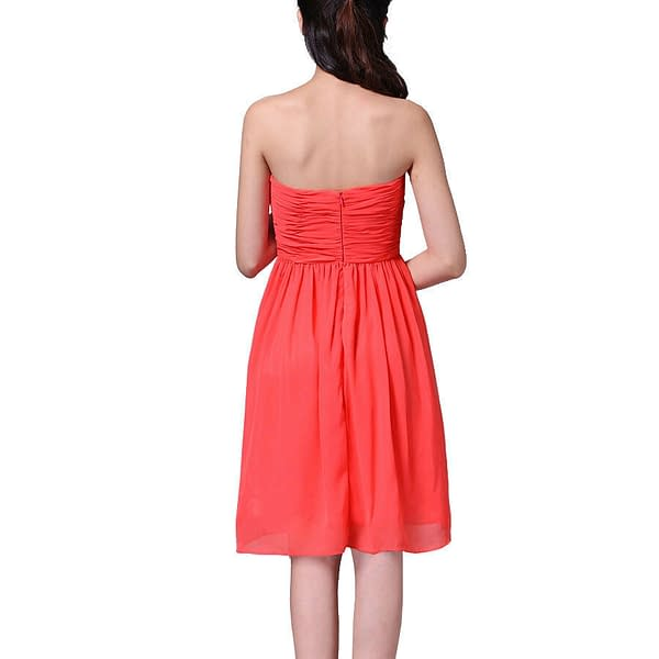Strapless Short Chiffon Bridesmaid Formal Cocktail Evening Party Dress Coral Red 171376333380 2