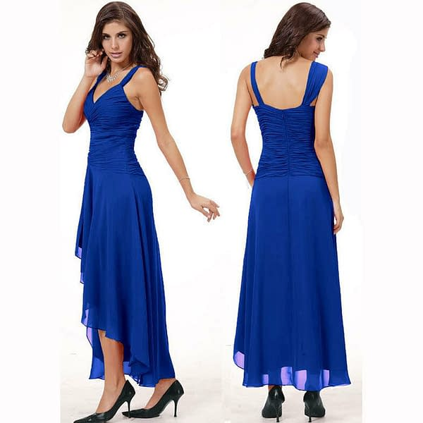 Stylish Floating High Low Formal Cocktail Evening Party Bridesmaid Dress Magenta 171376217133 2