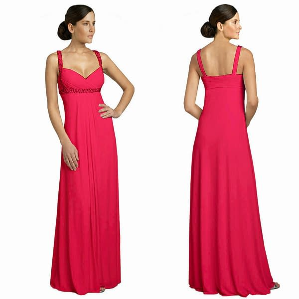Glittery Elegant Beaded Formal Evening Gown Bridesmaid Dress Hot Pink 400735337687