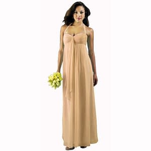 Long Flowing Ruffled Front Formal Evening Dress Apricot