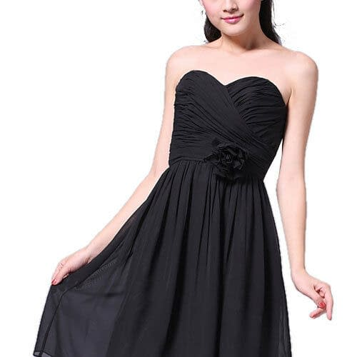 Strapless Full Length Chiffon Bridesmaids Dress Formal Evening Gown Silver Grey 400733352105 3