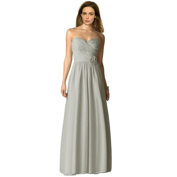 Strapless Full Length Chiffon Bridesmaids Dress Formal Evening Gown Silver Grey 400733352105