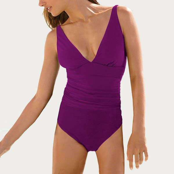 V Neck One Piece Beach Swimsuit Swimwear Bather with Optional Skirt Orchid 400787123356
