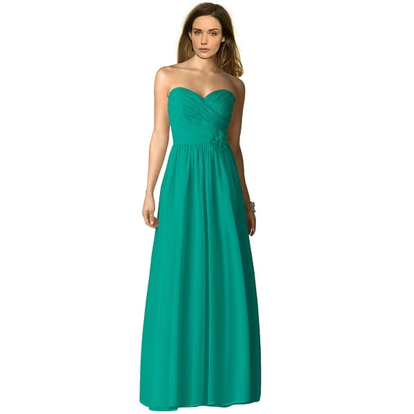 Strapless Full Length Chiffon Bridesmaids Dress Formal Evening Gown Turquoise 400732792068