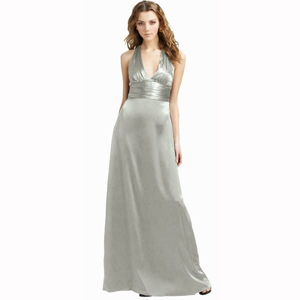 Halter Neck Silky Satin Formal Evening Bridesmaid Dress Party Ball Gown Silver 171374157943