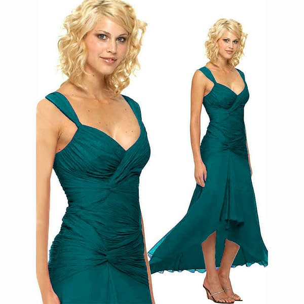 Stylish Floating High Low Formal Cocktail Evening Party Bridesmaid Dress Teal 171375432074