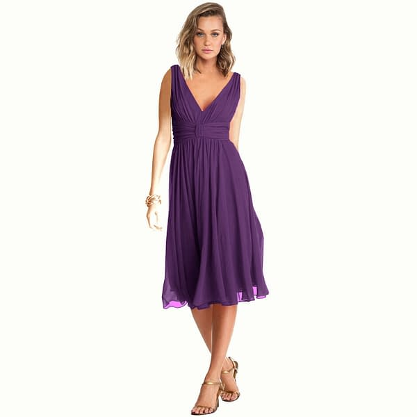 New Exquisite V Neck Cocktail Evening Party Chiffon Day Dress Purple 400736067782