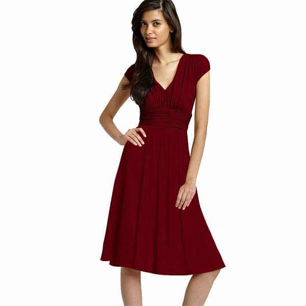 Ruched Cap Sleeves Chiffon Cocktail Evening Dress Prom Party Wear Burgundy 171372182722