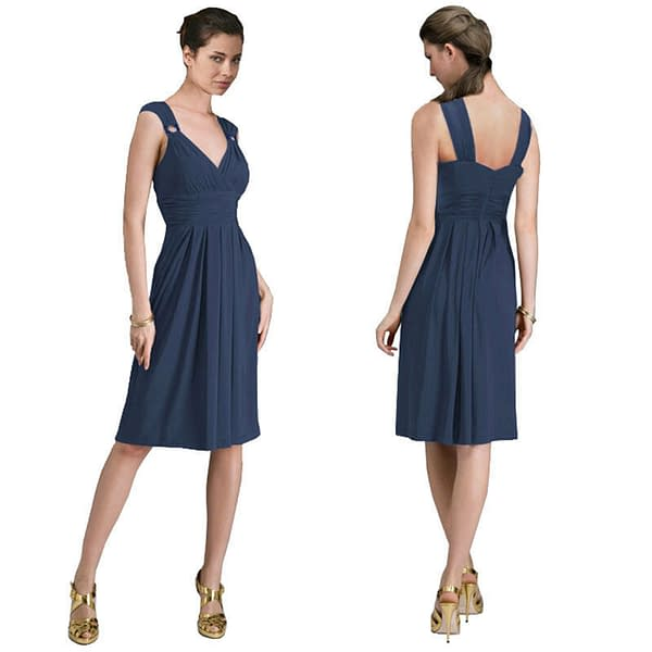 Light Shirred Stylish Knee Length Cocktail Party Day Dress Yacht Blue 400786176971