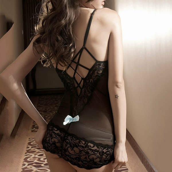 Black Lace Chemise Babydoll with Blue Bows G string 2227 Size SM 401139865764 3