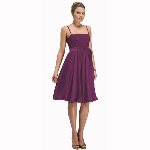 Sexy Knee Length Cocktail Party Bridesmaid Silk Chiffon Dress Violet 171375347356