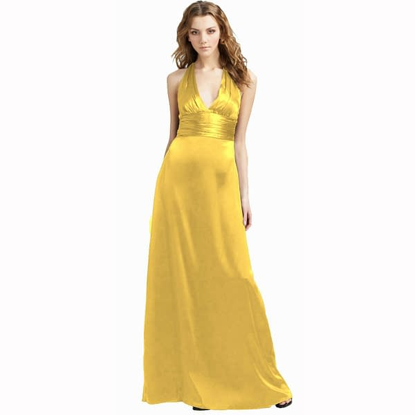 Halter Neck Silky Satin Formal Evening Bridesmaid Dress Party Ball Gown Yellow 171374316793