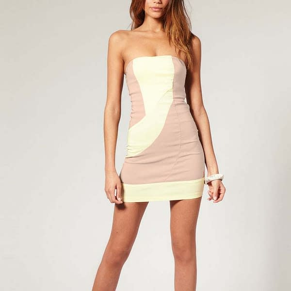 Fitted Strapless Bodycon Party Clubwear Mini Dress Apricot