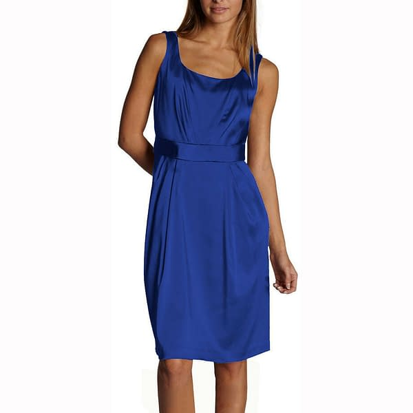 Sleeveless Scoop neck Satin Formal Cocktail Party Day Bridesmaid Dress Blue 191233598730