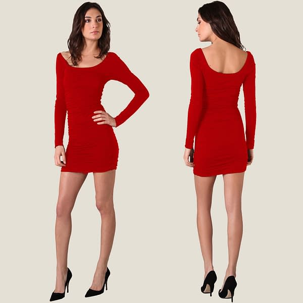 Scoop-neck Jersey Night Long Sleeves Dress Red