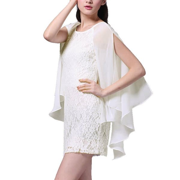 Short Chiffon Lace Cocktail Dress Club Party Wear with Fluted Sleeve Ivory 400735966755 2