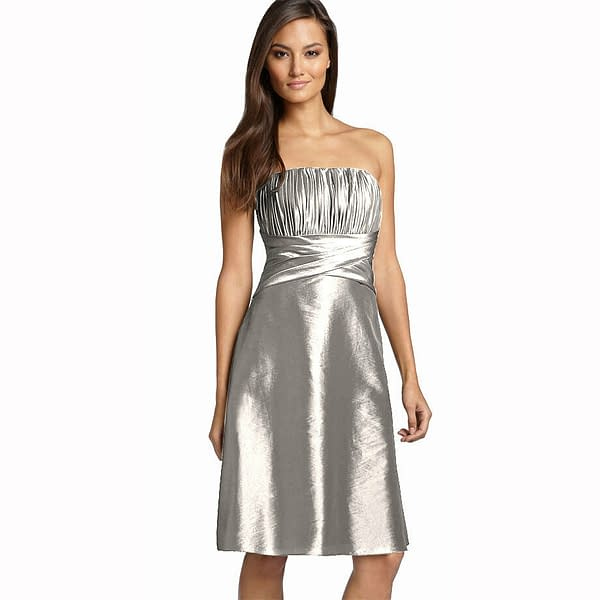 Strapless Pleated Knee Length Formal Taffeta Cocktail Party Dress Silver 172536907238