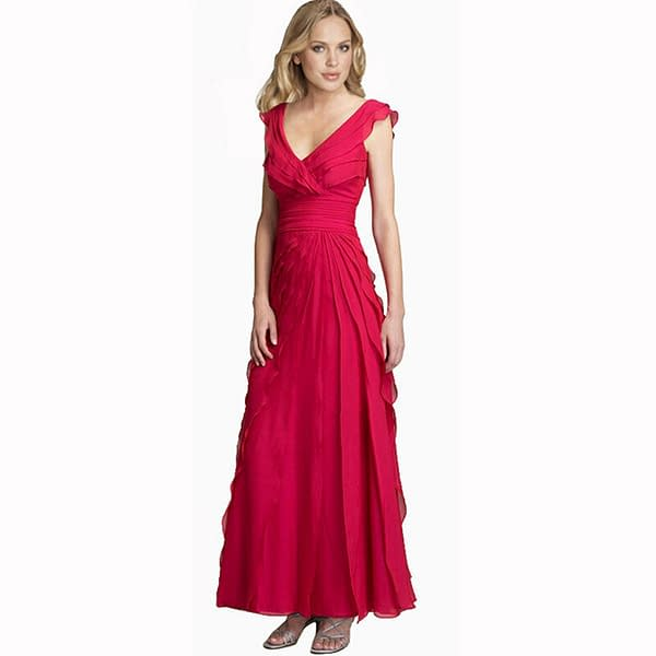 Elegant Fashion Full Length Tiered Formal Evening Party Dress Ball Gown Hot Pink 400736025117