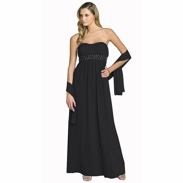 Beaded Strapless Formal Long Evening Gown Bridesmaid Dress with Shawl Black 191231221871