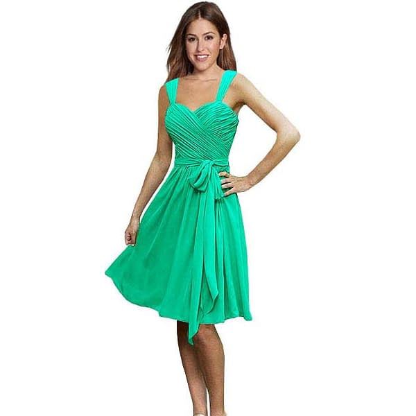 Sweetheart Pleated Chiffon Cocktail Bridesmaids Dress Turquoise