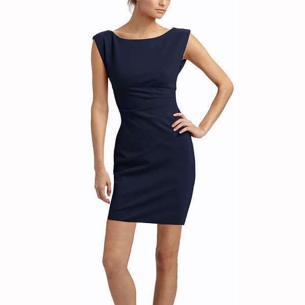 Sleeveless Boatneck Fine Jersey Sheath Day Party Cocktail Dresses Blue 191322543762