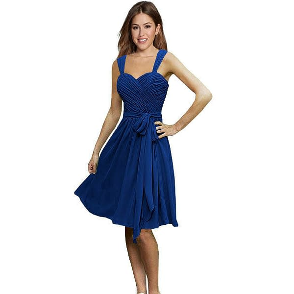 Sweetheart Pleated Chiffon Cocktail Evening Party Bridesmaid Dress Cobalt Blue 171370291274