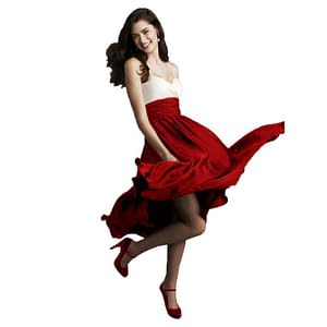 Sweetheart Two Tone Mid-calf Cocktail Dress Red
