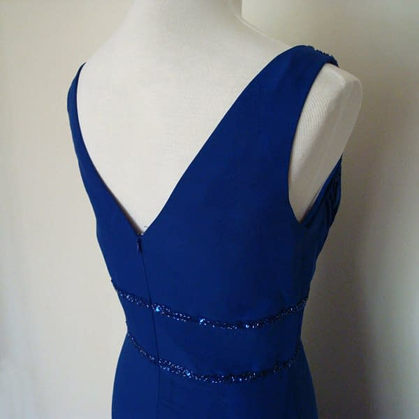 V Neck Sleeveless Beaded Formal Cocktail Party Dress Evening Gown Cobalt Blue 171376217167 3