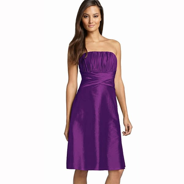 Strapless Pleated Knee Length Formal Taffeta Cocktail Party Dress Violet 192107801996