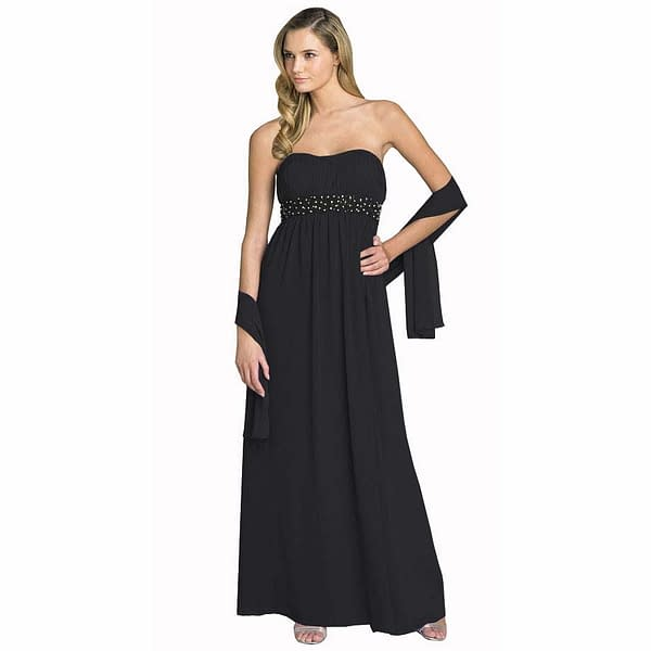 Beaded Strapless Formal Long Evening Gown with Shawl Black