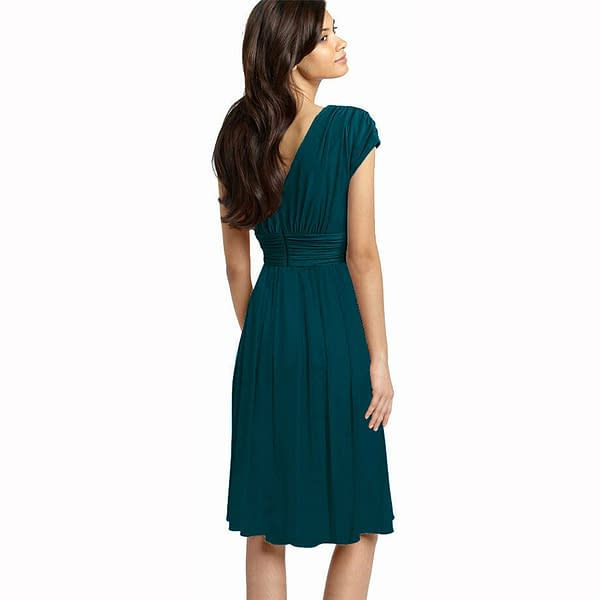 Ruched Cap Sleeves Chiffon Cocktail Evening Dress Prom Party Wear Teal 191234892382 2