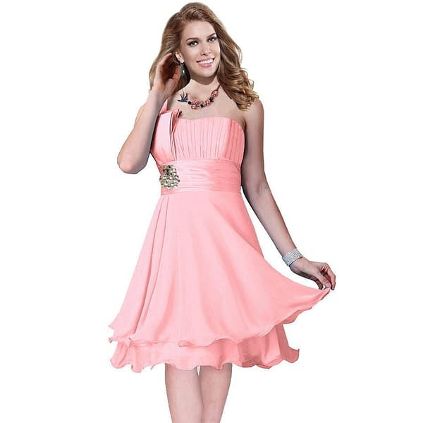 One Shoulder 2 Layer Chiffon Formal Cocktail Prom Party Dress Light Pink 191228324800