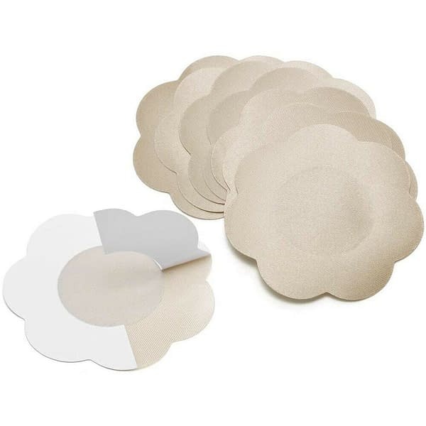 Quality Satin Floral Round Adhesive Breast Nipple Covers Invisible Bra Sticker 400730088447 6