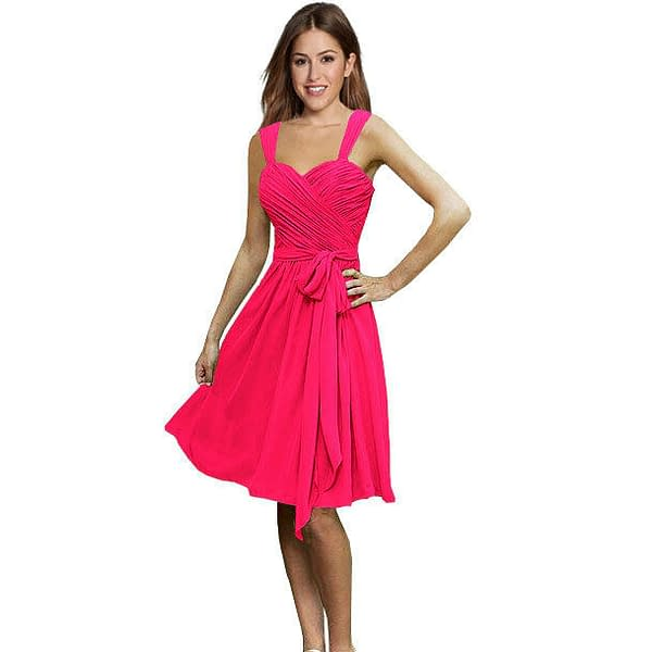 Sweetheart Pleated Chiffon Cocktail Evening Party Bridesmaid Dress Hot Pink 171374137219