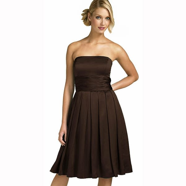 A Line Strapless Knee Length Satin Cocktail Party Bridesmaid Prom Dress Choc 192104652152