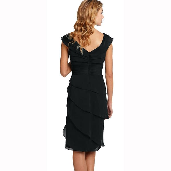 Tiered Fashion Formal Knee Length Cocktail Party Evening Dress Black 400735903179 2