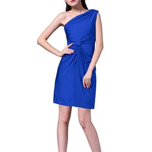 Ruched Stretch One shoulder Short Party Jersey Dress Blue
