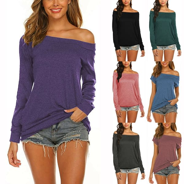 Womens Long Sleeve Off Shoulder Boat Neck Casual Stretch T Shirt Blouse Tops 193765834523