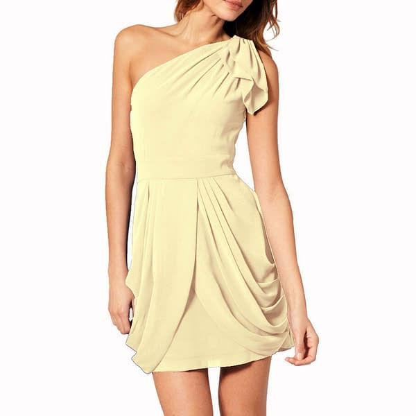 Chic One Shoulder Short Chiffon Cocktail Party Prom Dress Club Wear Champagne 191233578772
