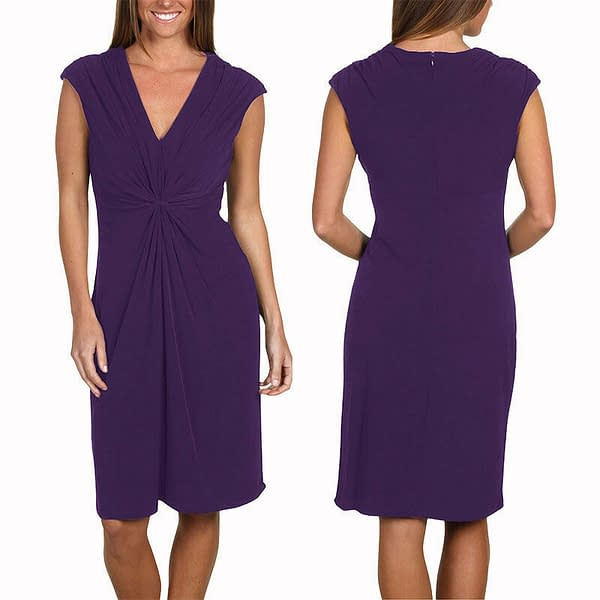 Alluring Twist Front Sleeveless Jersey Cocktail Party Day Night Dress Lavender 191231221801