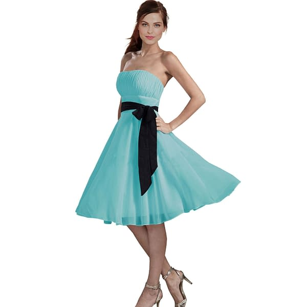 Sexy A Line Strapless Chiffon Formal Bridesmaid Cocktail Party Dress Light Blue 400734148140